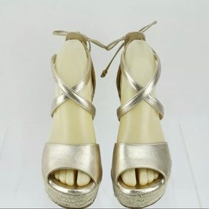 Women's UGG Reagan Gold Leather Wedge Heels size 7